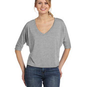 Ladies' Flowy Boxy Half-Sleeve V-Neck T-Shirt