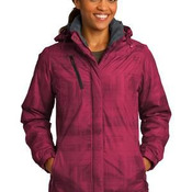 Ladies Brushstroke Print Insulated Jacket