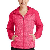 Ladies Heather Colorblock Raglan Hooded Wind Jacket