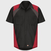 Tri-Color Short Sleeve Shop Shirt
