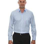 Men's Wrinkle-Free Two-Ply 80's Cotton Taped Stripe Jacquard Shirt